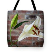 Opening White Lily Tote Bag