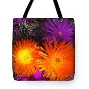 Orange And Fuchsia Color Flowers Tote Bag