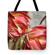 Orange And Light Green Flowers Tote Bag