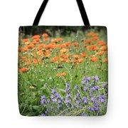 Orange And Purple Dream Flowers Tote Bag