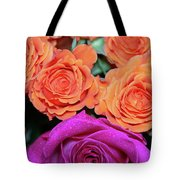 Orange And White With Pink Tip Roses Tote Bag