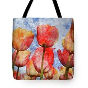 Orange And Yellow Tullips With Blue Sky Tote Bag