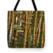 Orange Bamboo Abstract, Reflection On Water Tote Bag