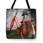 Orange Bicycle In The Street Tote Bag