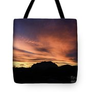 Orange Brushstrokes Over Picket Post Tote Bag