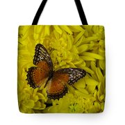 Orange Butterfly On Yellow Mums Tote Bag