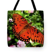 Orange Butterfly Tote Bag by Valeria Donaldson