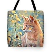 Orange Cat In Field Of Yellow Flowers Tote Bag