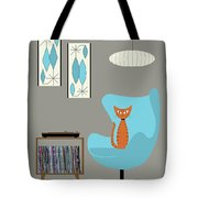 Orange Cat In Turquoise Egg Chair Tote Bag