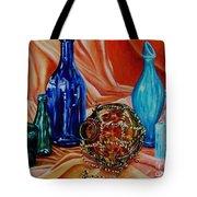 Orange Cloth Blue Bottles Tote Bag