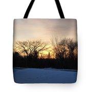 Orange Dawn Sky Behind Trees Tote Bag