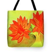 Orange Waterlily Watercolor Painting Tote Bag