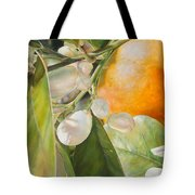 Orange Fleurie Tote Bag