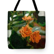 Orange Flower Abstract Tote Bag