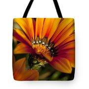 Orange Flower Print Tote Bag