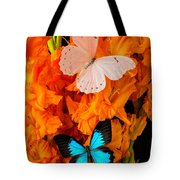 Orange Glads With Two Butterflies Tote Bag