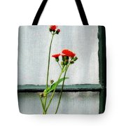 Orange Hawkweed Over Gray Muslin Tote Bag