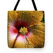Orange Hibiscus II With Water Droplets Tote Bag