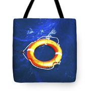 Orange Life Buoy In Blue Water Tote Bag