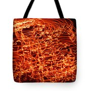 Orange Neon Flames Tote Bag