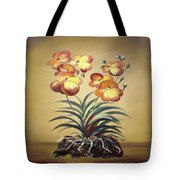 Orange Orchid Flowers Tote Bag