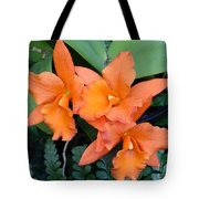 Orange Orchids Tote Bag