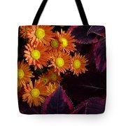 Orange Petals And Purple Leaves Tote Bag