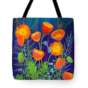 Orange Poppies And Forget Me Nots Tote Bag