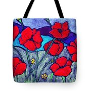 Orange  Red Poppies Tote Bag