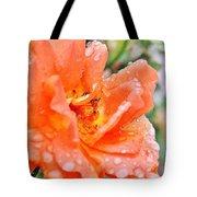 Orange Rose Raindrops Tote Bag