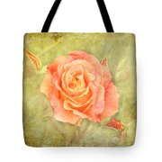 Orange Rose With Old Paint Texture Background Tote Bag