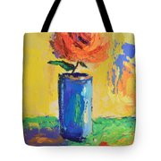 Orange Rose With Yellow Background Tote Bag