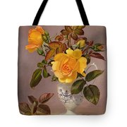 Orange Roses In A Blue And White Jug Tote Bag