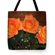 Orange Roses With Babysbreath Tote Bag
