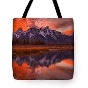 Orange Skies Over The Tetons Tote Bag