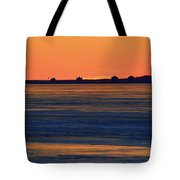 Orange Sky Above The Ice Of Kempenfelt Bay  Tote Bag