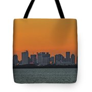Orange Sky During Sunset With The Boston Skyline Tote Bag