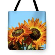 Orange Sunflowers Summer Blue Sky Art Prints Baslee Tote Bag