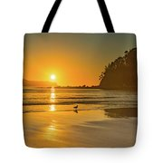 Orange Sunrise Seascape And Beach Tote Bag