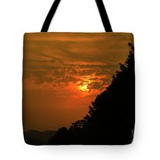 Orange Sunset With Tree Silhouette Tote Bag