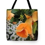 Orange Teardrop With White Lace Tote Bag