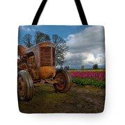 Orange Tractor At Tulip Field Tote Bag