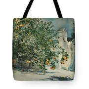 Orange Trees And Gate Tote Bag