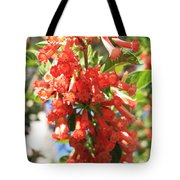 Orange Trumpet Flower Tote Bag