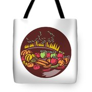 Orchard Crop Harvest Circle Woodcut Tote Bag