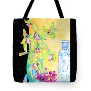 Orchids And Blue Vase Tote Bag