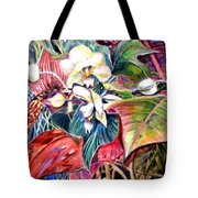 Orchids In White Tote Bag