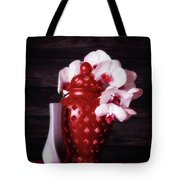 Orchids With Red And Gray Tote Bag