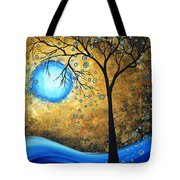 Orginal Abstract Landscape Painting Blue Fire By Madart Tote Bag