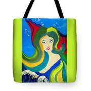 Japanese Mermaid Bubbles  Tote Bag